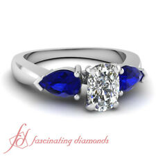 1 Ct Cushion Cut:Ideal Diamond Engagement Ring With Pear Blue Sapphire 14K Gold
