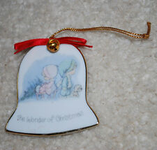 """Vintage 1986 Precious Moments The Wonder of Christmas Ornament Enesco 2.5"""" Bell"""