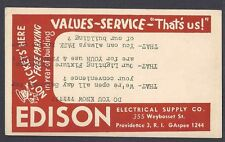 1950 EDISON ELECTRICAL SUPPLY CO PROVICENCE RI LIGHT FIXTURES, TYPED UPSIDE DOWN