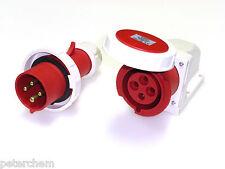 32 Amp 4 Pin Plug and Wall Mount Socket 3p E 415v Waterproof Ip67 Three Phase