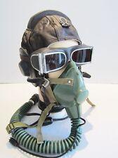 Flight Helmet Fighter Pilot Flight Leather Helmet Oxygen Mask Goggles YM 6512