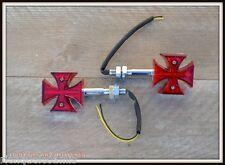 X4pcs 2 Coppia di intermittenti a LED Croce Malta rosso (per harley sportster )