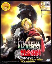 DVD Anime Fullmetal Alchemist Season 1+2 Brotherhood (1-115 + 2 Movie +Live Mov)