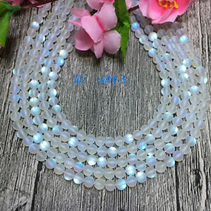 Natural 6mm White Gleamy Rainbow Moonstone Round Gems DIY Loose Beads 15''
