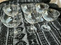 6 Lenox Montclair Sherbet Champagne Crystal Glass Mint Set Lot crystal vintage
