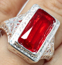 Large 3CT Baguette Red Ruby Ring Women Wedding Jewelry Gift Sizes from 6 to 9