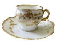Antique Limoges France Elite Souvenir of Lexington Demitasse Cup & Saucer Gold