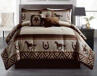 Rustic Southern Running Wild Horses & Horseshoe Star Comforter Set - 7 Piece Set