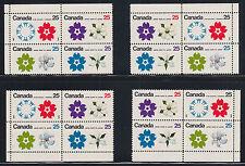 Canada Uni 511b MNH. 19701 25c EXPO '70, matched Sheet Corner Blocks W2B tagging