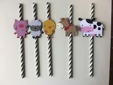 Farm animals paper straws. set of 10. Birthday party. Cow,pig,lamb,horse,chick