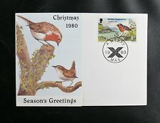 TIMBRES ISLE OF MAN : CHRISTMAS 1980 - TIMBRE SUJET OISEAUX ROUGE GORGE-  TBE