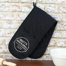 Personalised Double Oven Gloves Mitt - Bar & Grill Mens BBQ Chef Gift - Black
