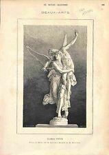 Gloria Victis  sculpture  sculpteur Antonin Mercié 1873 GRAVURE ANTIQUE PRINT