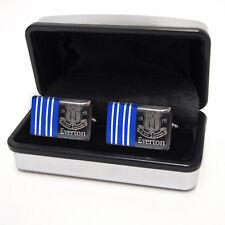 Everton FC Executive Cufflinks Crest Design Chrome Cuffs in Box - Ideal Gift