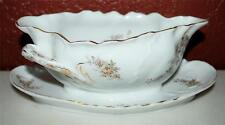 VINTAGE R&C ROSENTHAL GERMAN FLORAL GRAVY BOAT WITH CONNECTED UNDERPLATE SS2