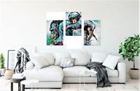 3 Panel Poster Print of Blue Chimpanzee & Child - Wall Art Decor Africa 18X36