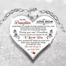 "To My Daughter Love Mom Mother & Daughter Heart Rose Necklace 23""  N102-1"