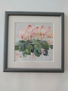 20thC watercolour painting Pink Cyclamen framed and glazed