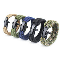 Survival Rope Paracord Bracelet Outdoor Camping Hiking Steel Shackle Buckle J zc
