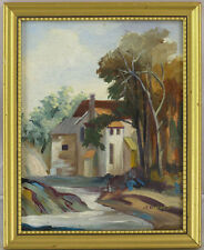 American Vintage Original Oil on Panel Landscape Painting Illegibly Signed