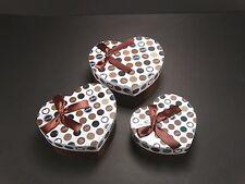 Brown Heart Shape Design Decorative Storage Trinket Gift Christmas Box Set of 3