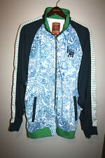Mens LIVE MECHANICS Navy Blue/Green Graffiti Print Full Zip Track Jacket 3X 3XL
