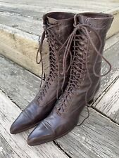 New listing Reserved Peterr Antique Edwardian Granny Boots Brown Leather Vintage Lace Up E78