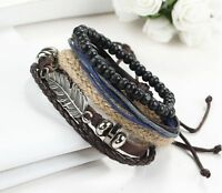 2016 New Men's Braided Leather Stainless Steel Cuff Bangle Bracelet Wristband