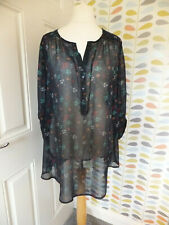 Rogers + Rogers Sheer Navy Overshirt 3/4 Turn Up  Sleeves Size 20