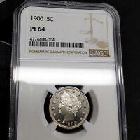 1900 PF64 Liberty Nickel 5c Proof, NGC Graded PR64