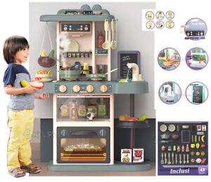 Cucina Giocattolo GRANDE per bambini Suoni Luci Vapore Acqua e Accessori Inclusi