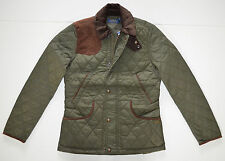 NWT Women's Polo Ralph Lauren Equestrian Quilted Jacket, Green, S, Small