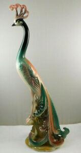 "Vintage Signed Brad Keeler Mid Century Modern Peacock Figurine 16"" Tall No 701"