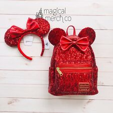 NEW Disney Parks Loungefly Minnie Mouse REDD Red Sequined Backpack & Ears Combo