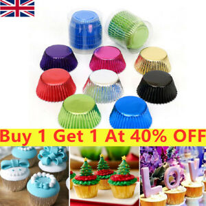 100PCS Foil Metallic Paper Coloured Cupcake Cases Liner Muffin Bakings Cake Cup