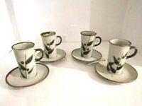 Vintage Studio Art Pottery Handmade Stoneware Mugs Coffee/Tea Set of 4