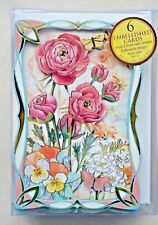 PUNCH STUDIO Flowers & Butterflies Die-Cut Gold Embellished Dimensional Cards -6