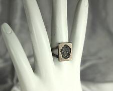 DELTA THETA TAU Ring 1920s Signet STERLING Intaglio Crest SEAL Adjustable RARE