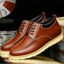 New Men's Leather Casual Invisible Elevator Shoes Height Increasing Boots Shoes