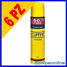 6 GAS BUTANO CLIPPER PER RICAMBIO RICARICA ACCENDINI LIGHTER BUTANE 250+50 ML