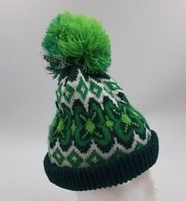 WIGWAM - Vtg 80s Green White Pom-Pom Beanie Stocking Cap Winter Hat Gaper