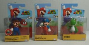 3 Super Mario 2020 Jakks Figurines Mario W/ Cappy Ice Mario Yoshi NEW SEALED