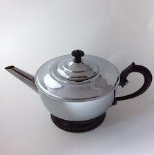 Vintage Art Deco Chrome Teapot Over White Porcelain Bakelite Handle Heavy