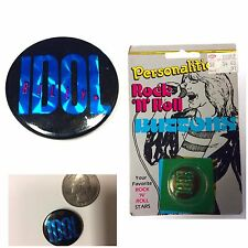 Vintage 1980s BILLY IDOL Pinback Button Badge Pin 1 Inch Rebel Yell Foil Logo