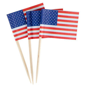 100 American Flag Toothpicks 4th July Party Patriotic Appetizer Cupcake USA