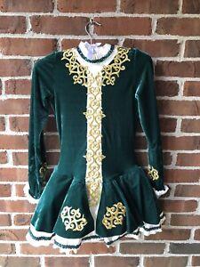 Girls Figure Ice Skating Dress Irish Dance Green Costume Tutu Adult XS