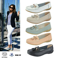 Ladies Wide Fitting Shoes Womens Leather Work Office Loafers Moccasins Sizes UK