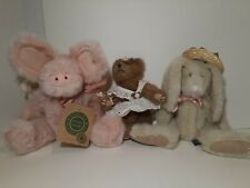 Lot 3 Boyd'S Bears Plush Pig w Wings Bunny Rabbit In Hat Vintage Baby 80's-90s