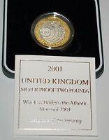 Royal Mint 2001 Silver Proof £2 Coin 100th Anniversary Marconi Atlantic COA