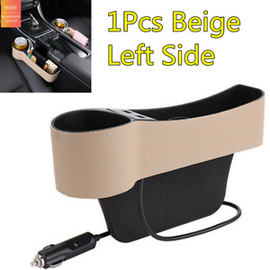 Universal Car Seat Gap Organizer Left Side Beige Leather Slit Pocket Tidying Box